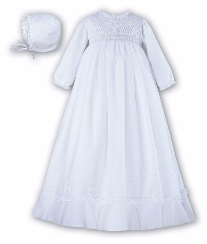 White long sleeved smocked gown and bonnet SL114
