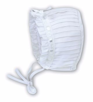 White Christening Bonnet with Pleats 3625