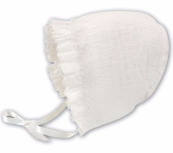 Embroidered Christening Bonnet by Sarah Louise 3602