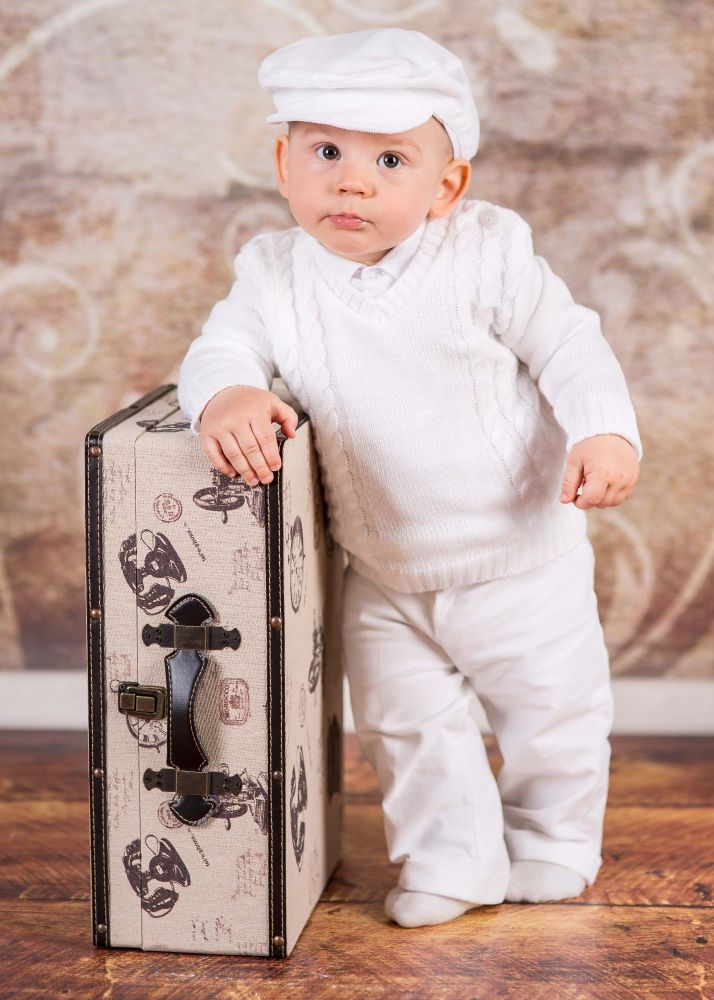 White Baby Boys 4 Piece Winter Christening Outfit Cable