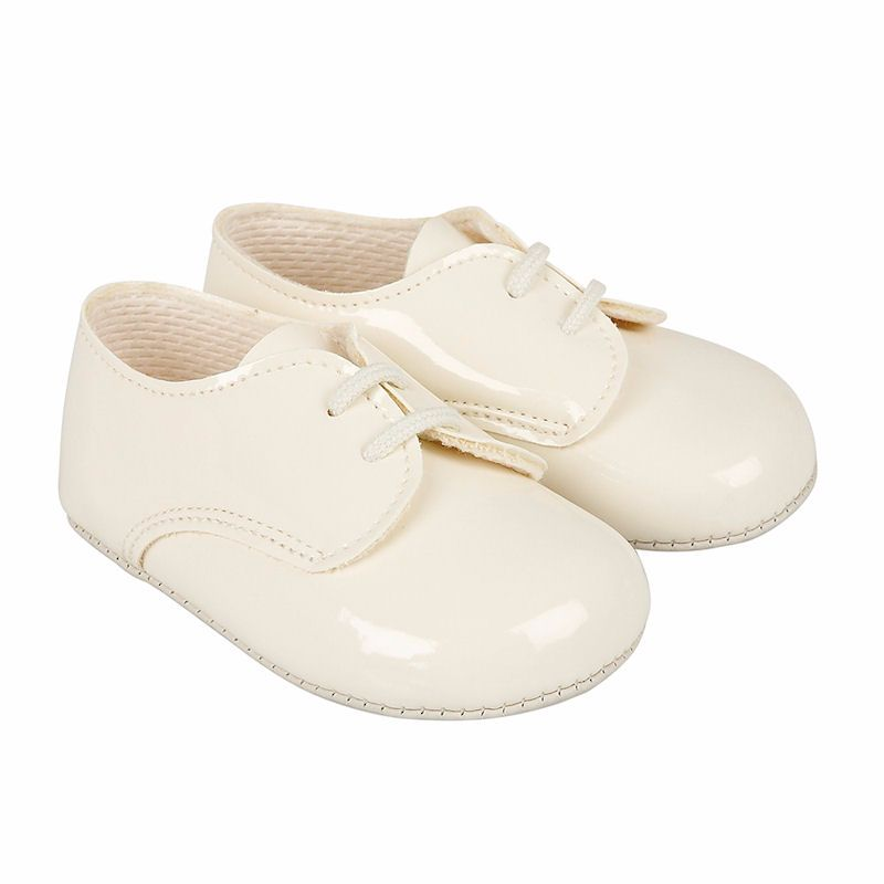 Baypods by Early Days Ivory Patent Pram Shoes with Laces 10