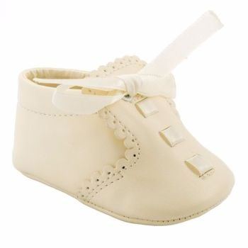 Soft Soled Baby Boys' Pram Shoes in Cream with Ribbon Laces