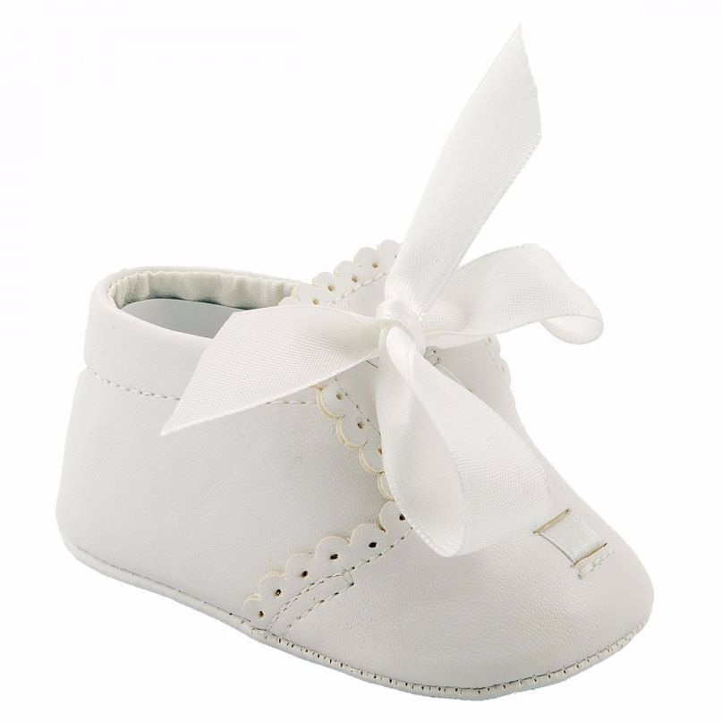 Soft Soled Baby Boys' Pram Shoes in White with Ribbon Laces