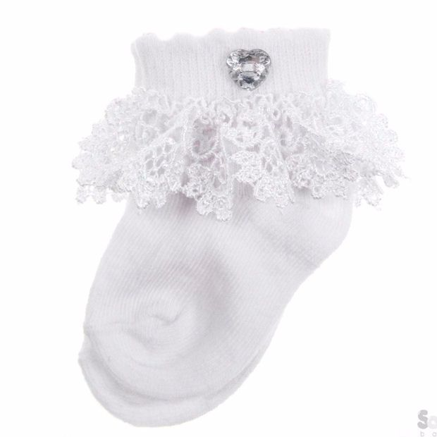 Lace Baby Socks with Diamante Heart
