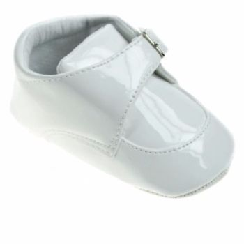 White Patent Soft Soled Shoes with Buckle