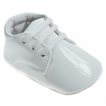 White Patent Soft Soled Shoes with Laces