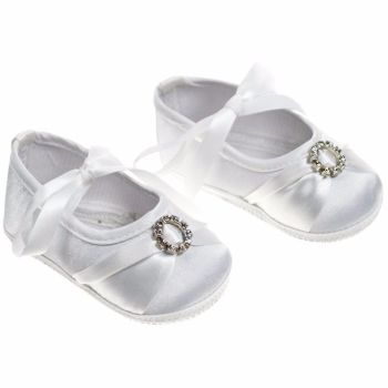 Ribbon Tied Satin Shoes with Diamante Decoration