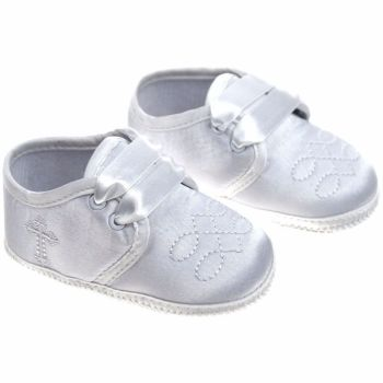 Baby Boys White Satin Christening Booties with Cross 92