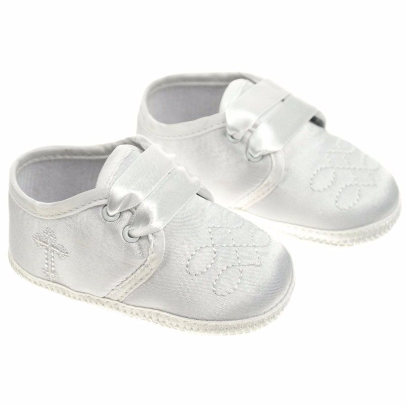 Baby Boys Ivory Satin Christening Booties with Cross 92