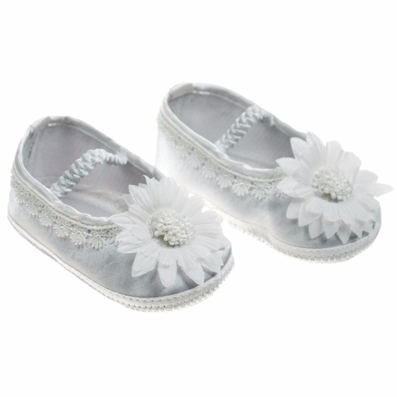 White Baby Ballet Shoes with Big Flower