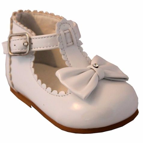 d82421423a5bb Sevva Sally White Patent Toddler Christening Shoe with Bow