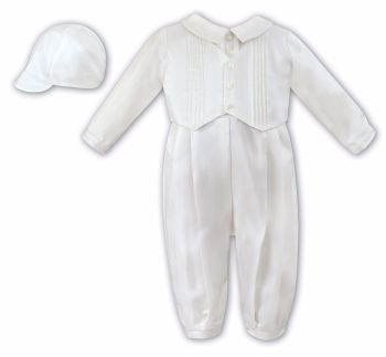 Ivory Waistcoat Style Christening Romper with Hat 2217
