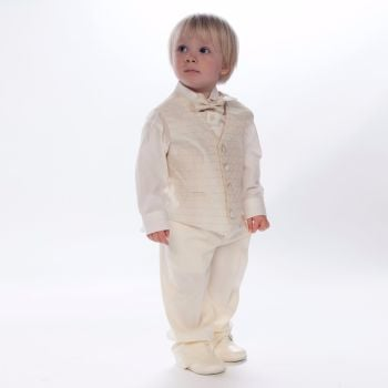 Ivory boys baptism suit with waistcoat & bow tie or cravat PD