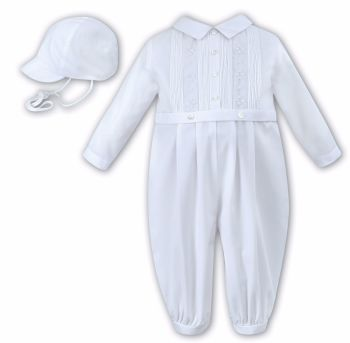 Sarah Louise 10846 white long sleeved long legged christening romper suit