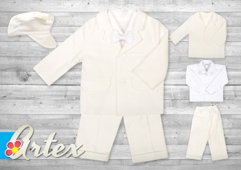 Ivory Cord Five Piece Boys Christening Suit