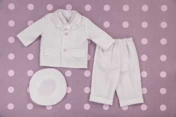 White Cord Five Piece Boys Christening Suit