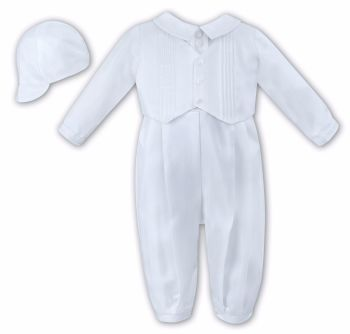 White Waistcoat Style Christening Romper with Hat 2217