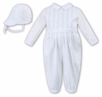 Sarah Louise 10843 white long sleeved christening romper