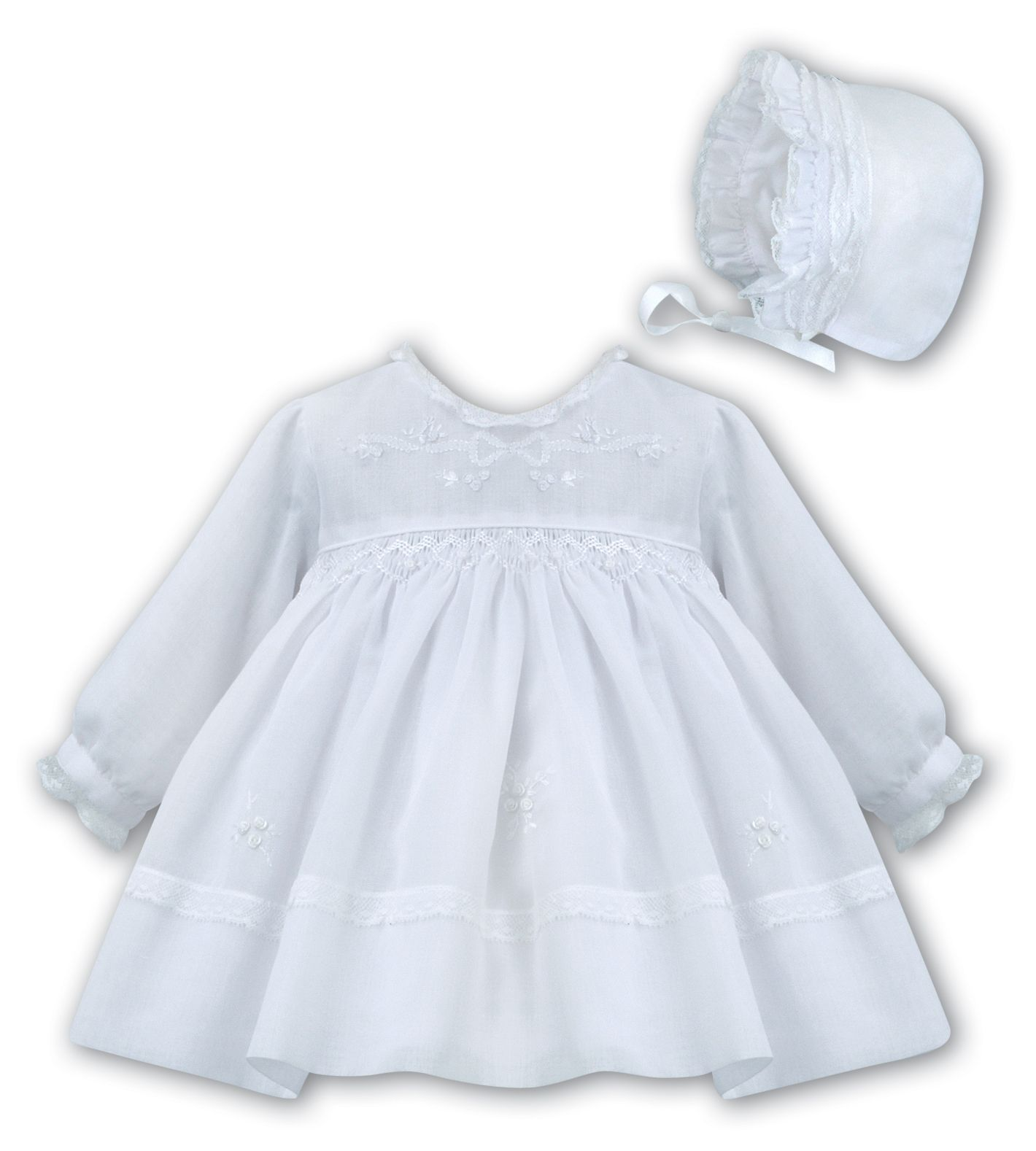 1de9cc839 White long sleeved smocked Christening dress 001199 Sarah Louise 1199