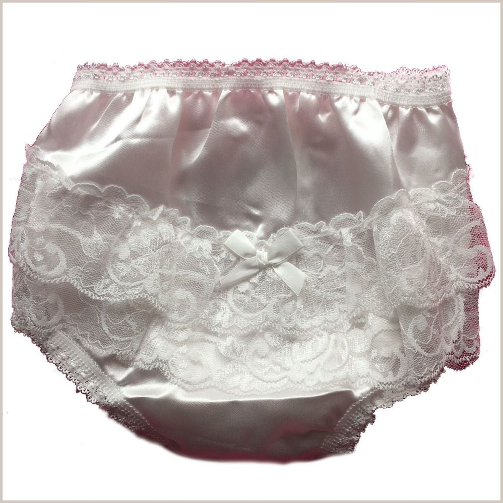 Frilly satin nappy cover in Ivory