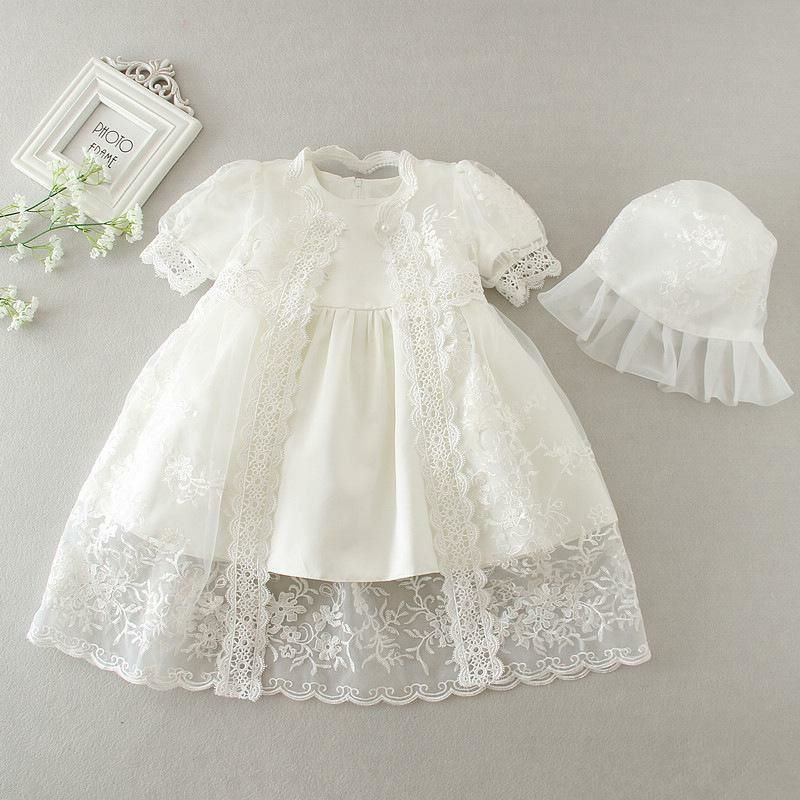 'Jessica' Lace Embroidery Christening Dress And Bonnet