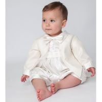 Baby Boys Christening Romper Outfit - Ivory