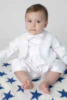 Baby Boys Christening Romper Suit in White
