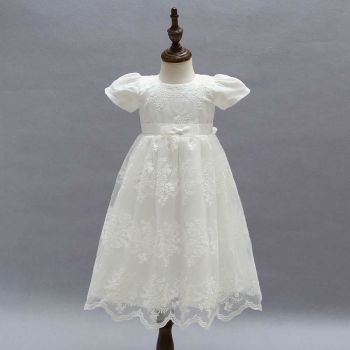 Vintage Baby Girls Christening Gown White