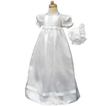 Baby girls Christening Gown With Rosebuds And Bonnet