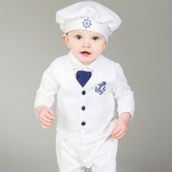Modern White And Navy Sailor Christening Outfit