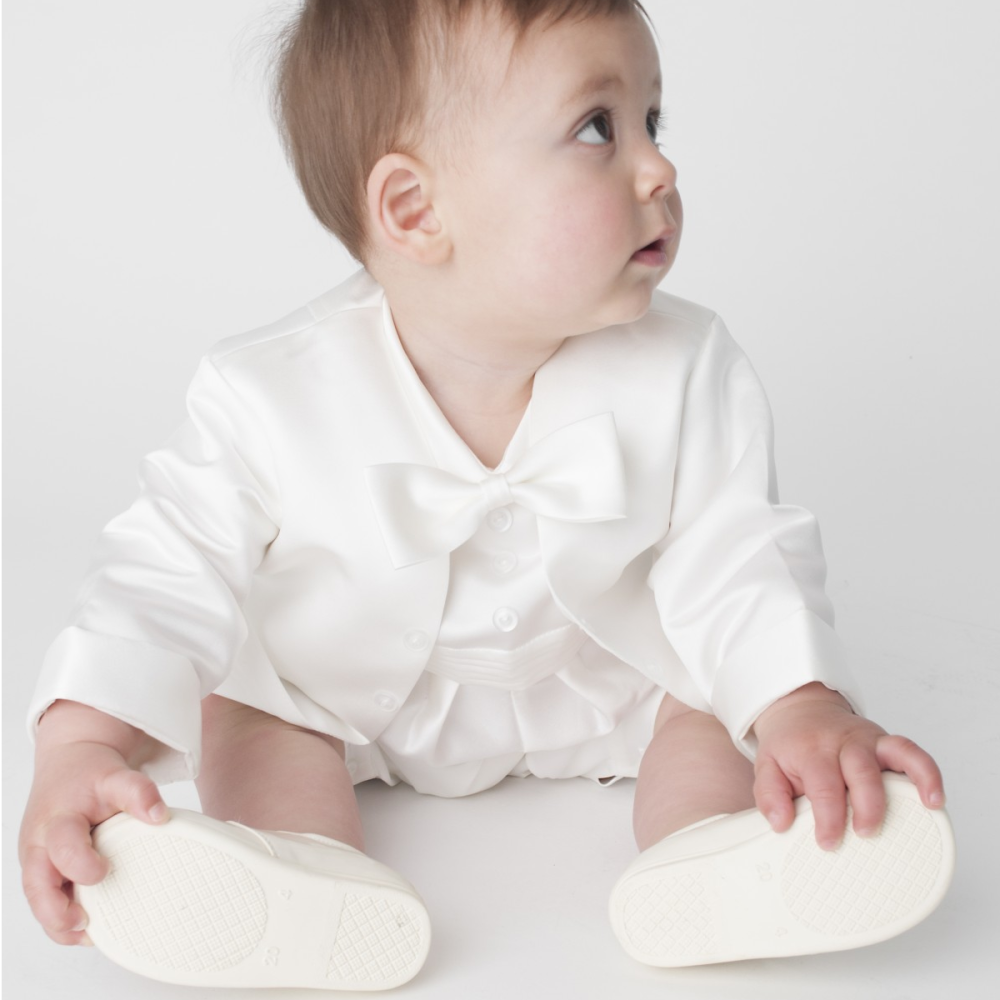 Baby boys Ivory Christening Romper and Jacket outfit
