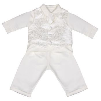 Baby - Toddler Modern Paisley Pattern Christening Suit Ivory