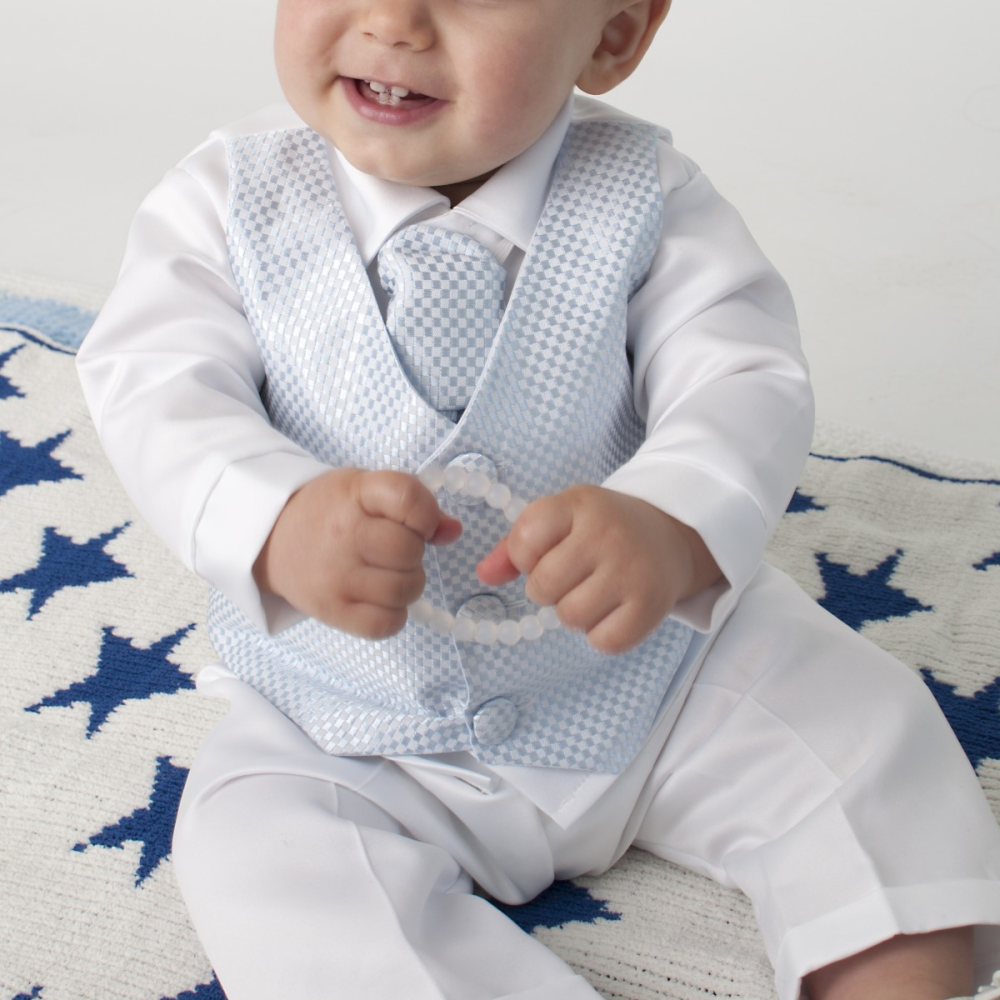 Baby or Toddlers Blue and White Christening Suit