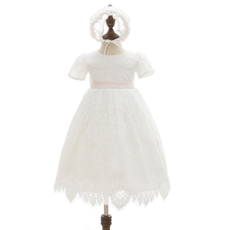 Michelle - Baby Girls Christening Dress White Lace