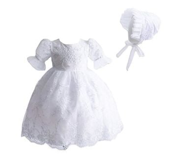 'Chloe' Lace Christening Dress And Bonnet White