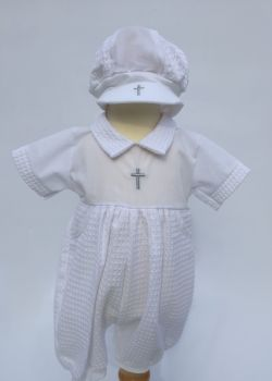 'Freddie' Boys White Christening Romper and Hat