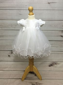 'Holly' White Double Bow Christening Dress by Eva Rose