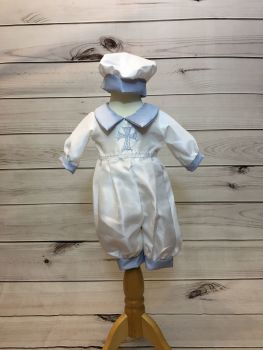 'Noah' White and Blue Cross Romper
