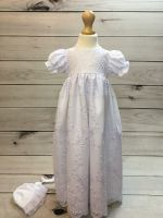 'Ann' Girls White Christening Gown And Bonnet