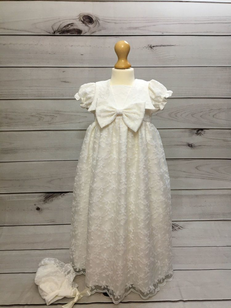 'juliette' Baby Girl Christening Gown in Ivory Lace With Bonnet