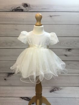 'Olivia' Embroidered Ivory Girls Christening Dress