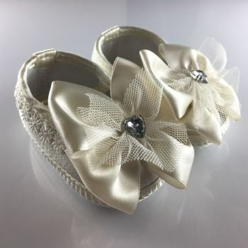 Ivory Baby Ballet Shoes with Big Bows