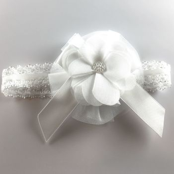 White lace headband with a large flower