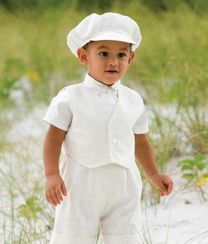 Beige linen baby boys Christening suit by Sarah Louise