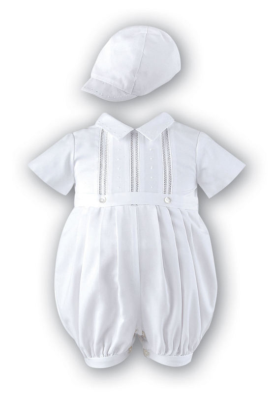 f325f4cda016 Baby boys Christening Romper and hat outfit by Sarah Louise 209