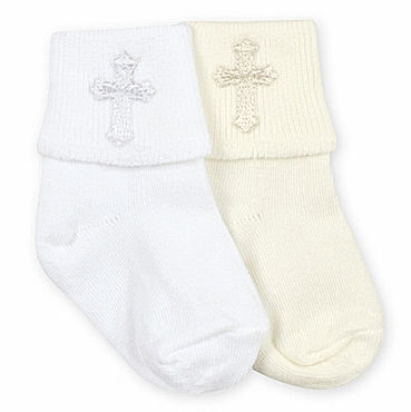 Ivory Boys Christening Socks with embroidered Cross