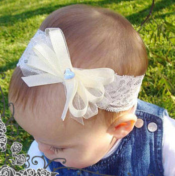 Stretch lace ivory baby headband with triple bow - PLT12i