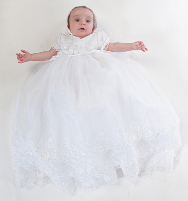 White Christening gown with flowers at waist   bonnet by Sarah ... 46380e3937