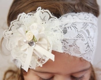 Ivory lace vintage baby headband with lace rosette PLT99