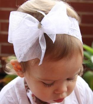 White lace baby headband with big organza bow PLT2